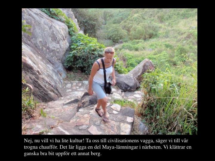 Nej, nu vill vi ha lite kultur! Ta oss till civilisationens vagga, sger vi till vr trogna chauffr. Det lr ligga en del Maya-lmningar i nrheten. Vi klttrar en ganska bra bit uppfr ett annat berg.