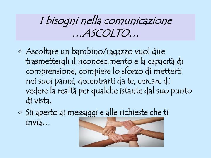 I bisogni nella comunicazione