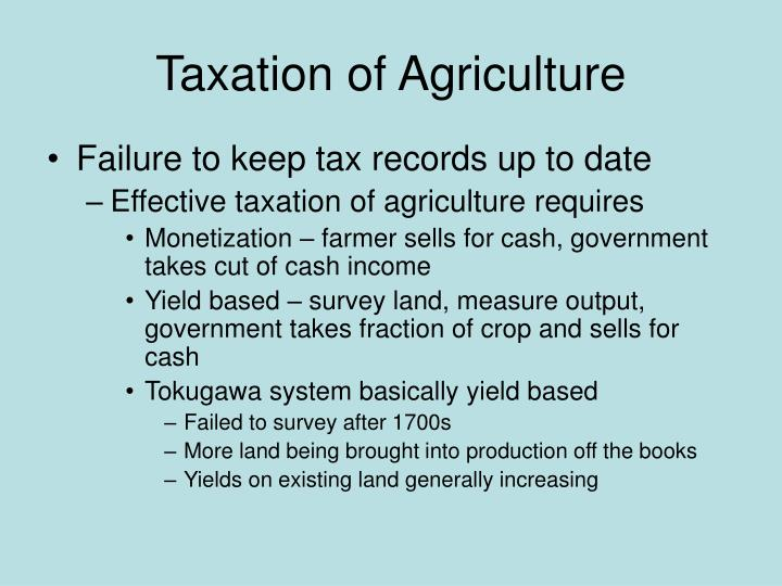Taxation of Agriculture