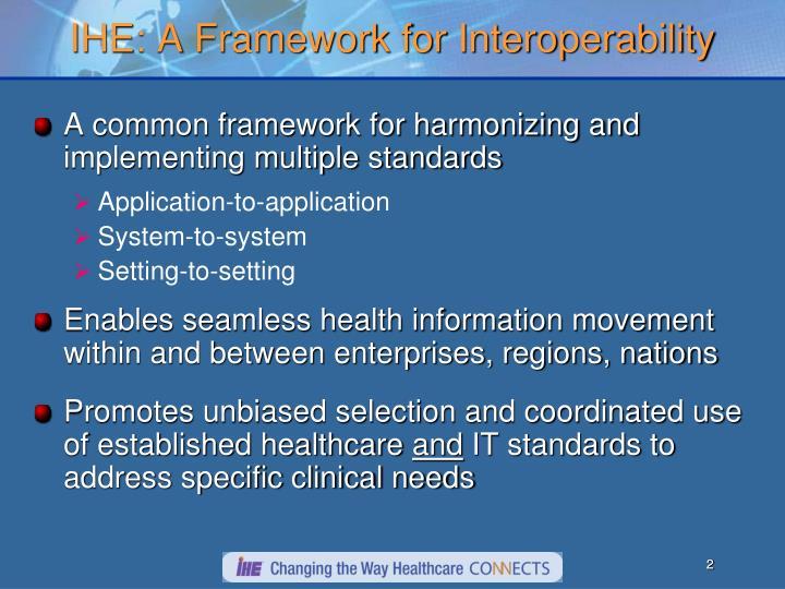 IHE: A Framework for Interoperability