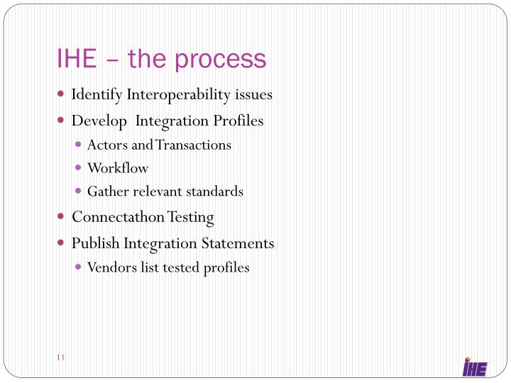 IHE – the process