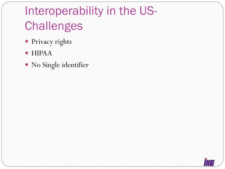 Interoperability in the US-Challenges