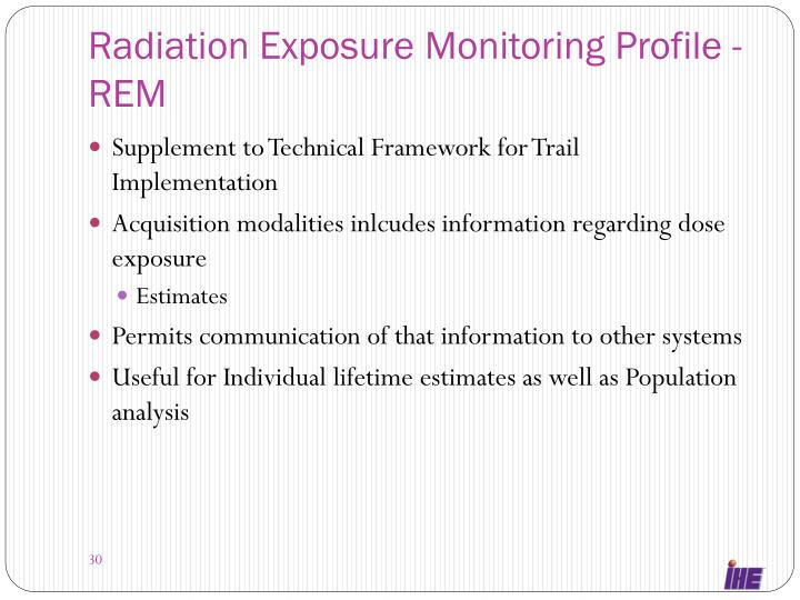 Radiation Exposure Monitoring Profile -REM