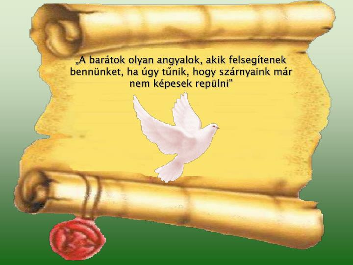 """""""A barátok olyan angyalok, akik felsegítenek bennünket, ha úgy tűnik, hogy szárnyaink már nem képesek repülni"""""""