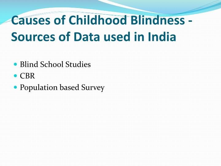 Causes of Childhood Blindness - Sources of Data used in India