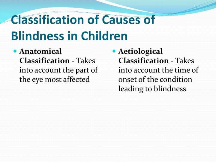 Classification of Causes of Blindness in Children