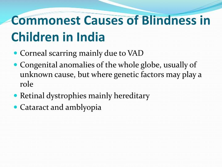 Commonest Causes of Blindness in Children in India