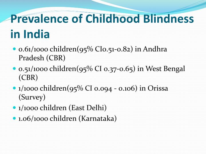 Prevalence of Childhood Blindness in India