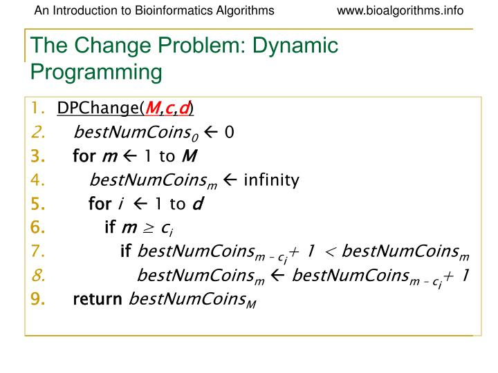 The Change Problem: Dynamic Programming