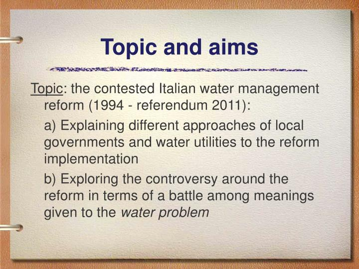 Topic and aims