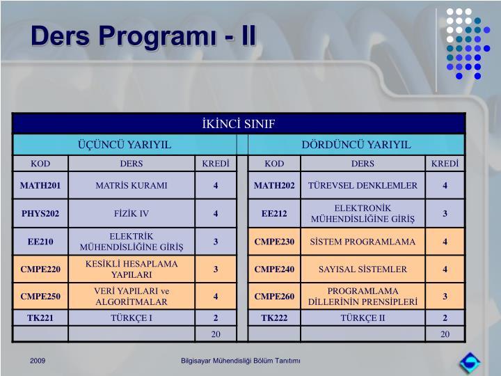 Ders Programı - II