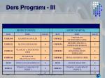 ders program iii