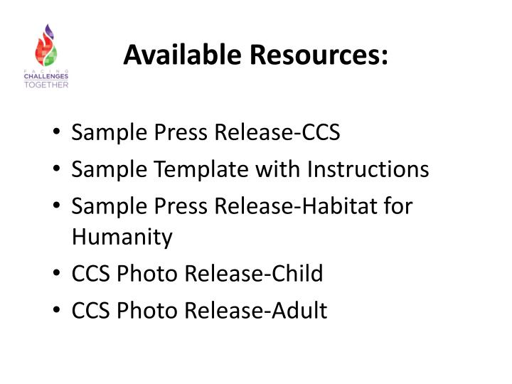 Available Resources: