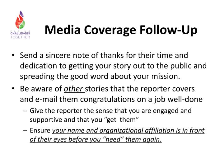Media Coverage Follow-Up