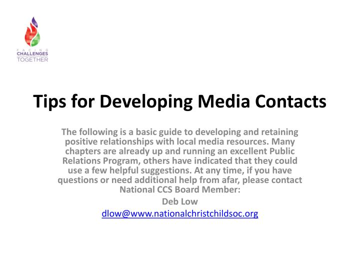 Tips for Developing Media Contacts