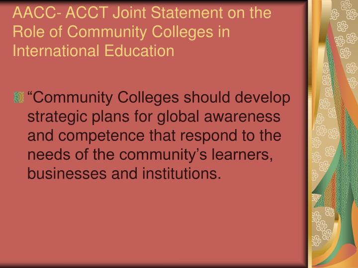 AACC- ACCT Joint Statement on the Role of Community Colleges in International Education