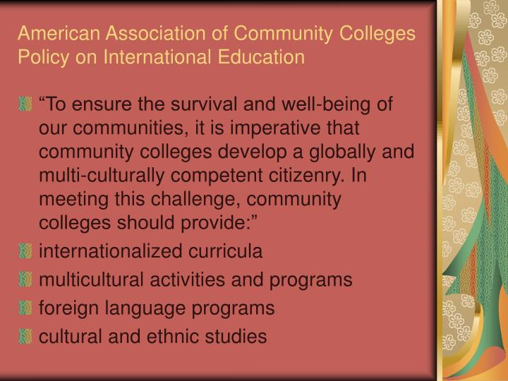 American Association of Community Colleges Policy on International Education