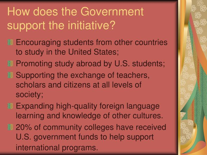 How does the Government support the initiative?