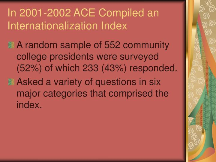 In 2001-2002 ACE Compiled an Internationalization Index