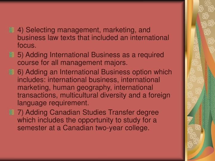 4) Selecting management, marketing, and business law texts that included an international focus.