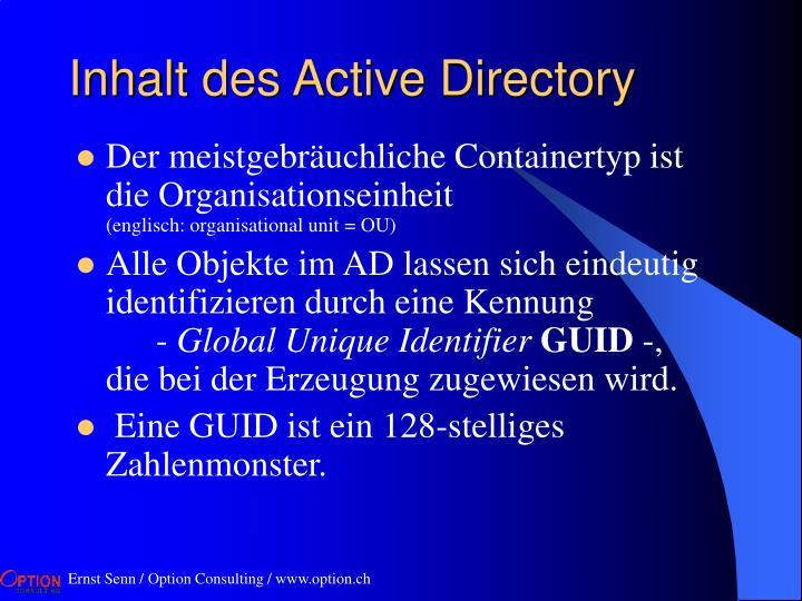 Inhalt des Active Directory