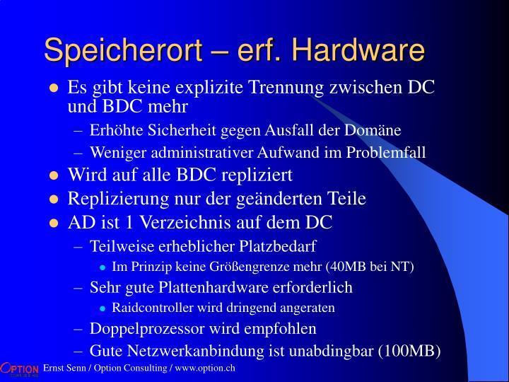 Speicherort – erf. Hardware