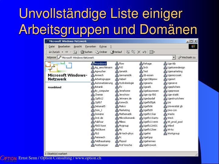 Unvollständige Liste einiger Arbeitsgruppen und Domänen
