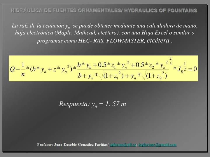 La raíz de la ecuación y