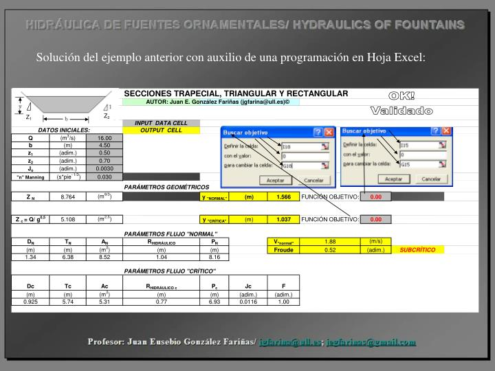 Solución del ejemplo anterior con auxilio de una programación en Hoja Excel: