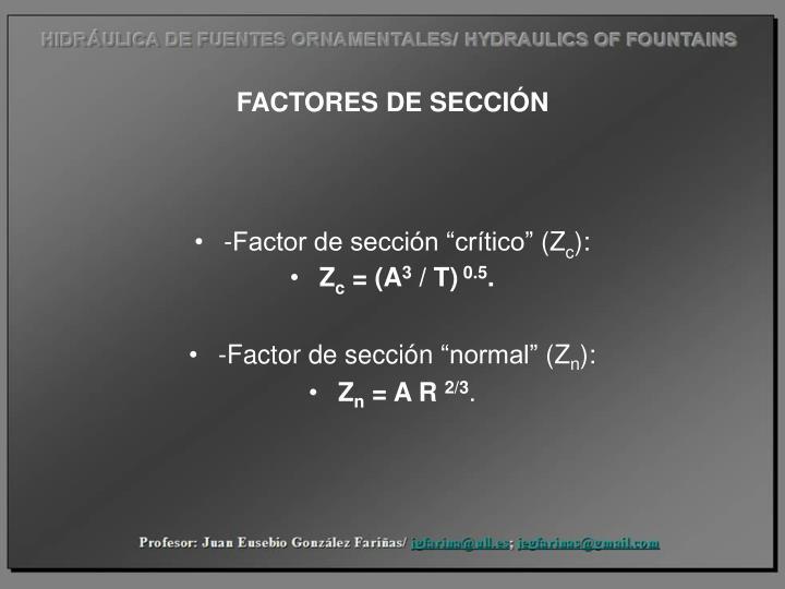 FACTORES DE SECCIÓN