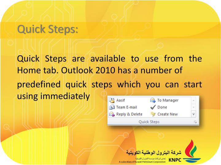 Quick Steps:
