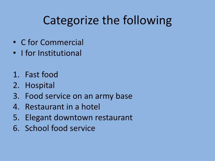 Categorize the following