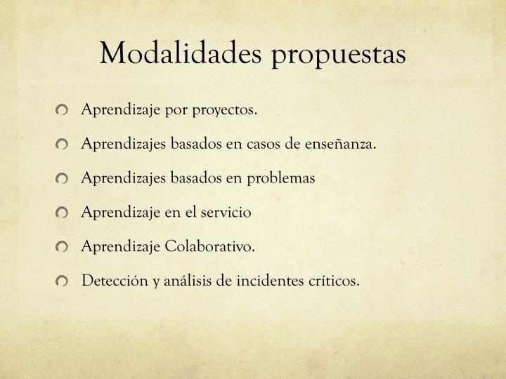 Modalidades propuestas