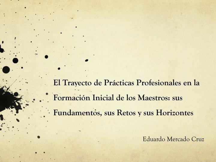 El Trayecto de Prácticas Profesionales en la Formación Inicial de los Maestros: sus Fundamentos, sus Retos y sus Horizontes
