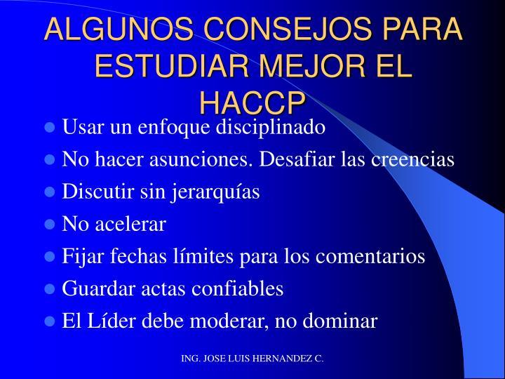 ALGUNOS CONSEJOS PARA ESTUDIAR MEJOR EL HACCP