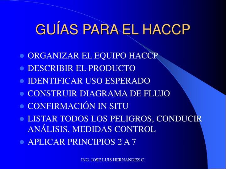 GUÍAS PARA EL HACCP