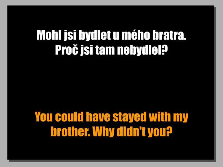 Mohl jsi bydlet u mho bratra.           Pro jsi tam nebydlel?