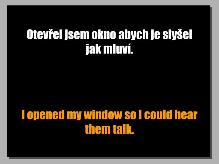 Otevel jsem okno abych je slyel jak mluv.