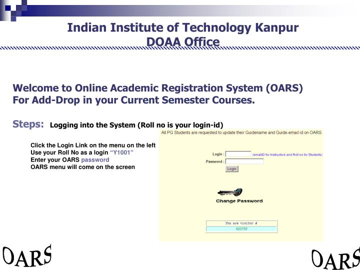 Welcome to Online Academic Registration System (OARS)