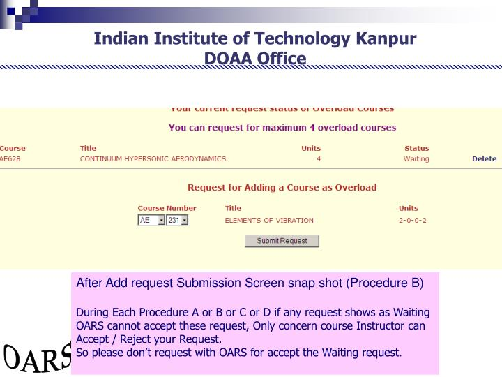 After Add request Submission Screen snap shot (Procedure B)
