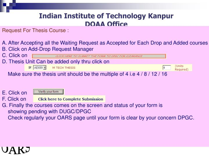 Request For Thesis Course :