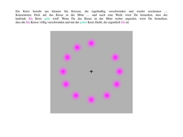 Ein Kreis besteht aus kleinen lila Kreisen, die regelmäßig verschwinden und wieder erscheinen …