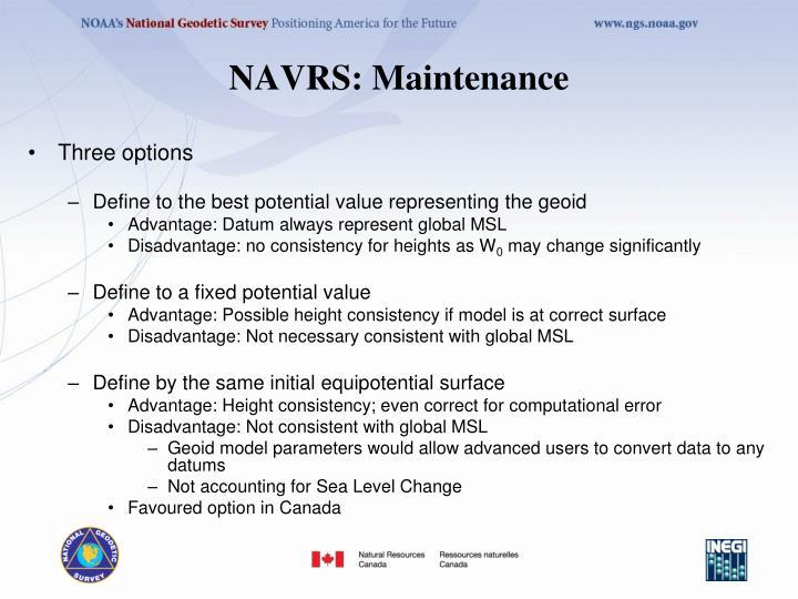 NAVRS: Maintenance