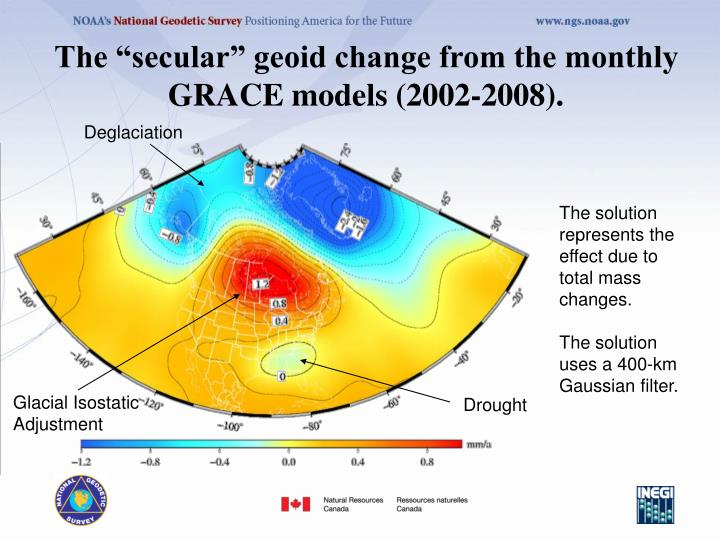 """The """"secular"""" geoid change from the monthly GRACE models (2002-2008)."""