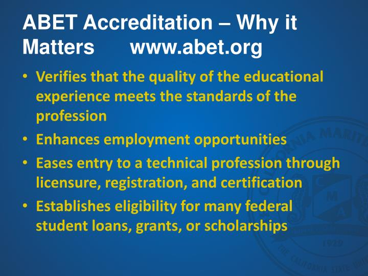 ABET Accreditation – Why it Matters