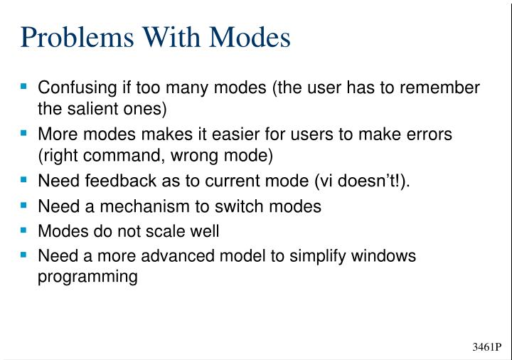 Problems With Modes