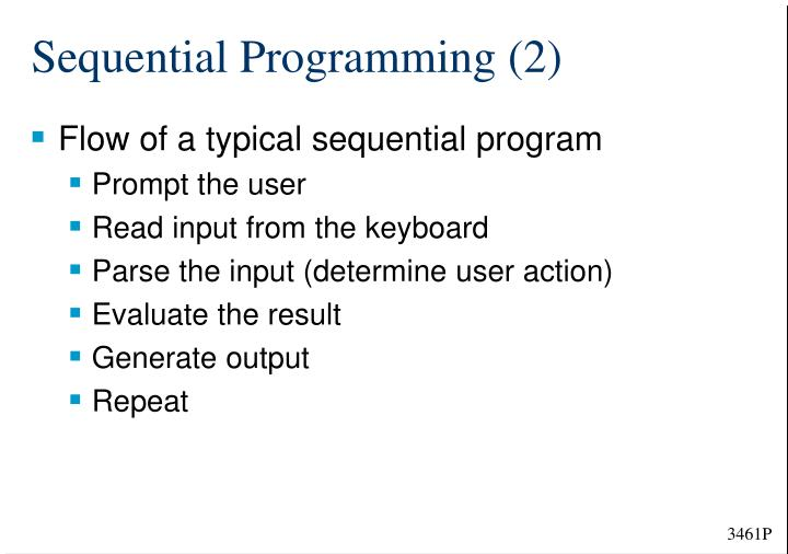 Sequential Programming (2)