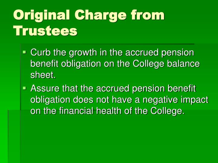 Original Charge from Trustees