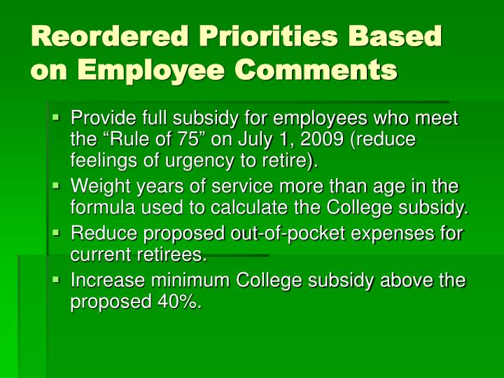 Reordered Priorities Based on Employee Comments