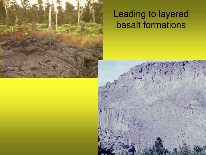 Leading to layered basalt formations